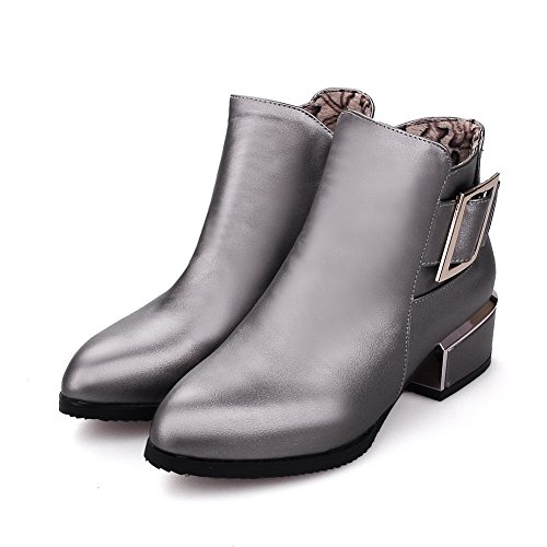 AllhqFashion Womens Low-Heels Pointed Closed Toe Pu Low-Top Solid Zipper Boots, Gray-Zippers, 33