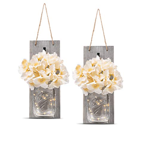 Rustic Wall Sconces - Mason Jars Sconce, Rustic Home Decor,Wrought Iron Hooks, Silk Hydrangea and LED Strip Lights Design 6 Hour Timer Home Decoration (Set of 2)