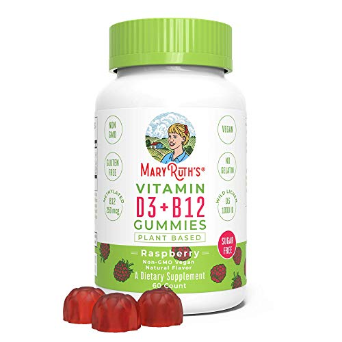 Vegan Vitamin D3+B12 Gummy (Sugar Free) Plant-Based by MaryRuth's | Made w/Organic Ingredients Non-GMO Gluten Free for Men Women & Kids 1000 IU D3 | 250 mcg B12-methylated 60 Count (Raspberry)