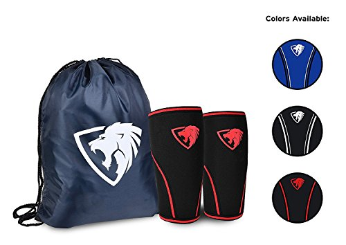 Knee Sleeves ( 1 Pair w/ bag ) Best Orthopedic Knee Support & Pain Compression Brace for Squats, (Weight Lifting Knee Support)