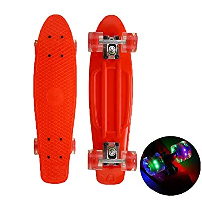 "HENGTONGTONGXUN 22""Skateboard Flashing Light Skateboard Plastic Longboard Outdoor Sports Girl Boy (Color : Red): Sports & Outdoors"