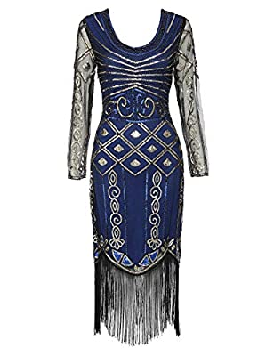 Women's Long Sleeve Flapper Dress 1920s Great Gatsby Sequin Inspired Cocktail Dress