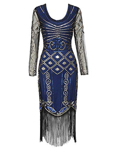 Women's Long Sleeve Flapper Dress 1920s Great Gatsby Sequin Inspired Cocktail Dresses (Blue Long Sleeve, S) -