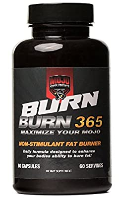 Mojo Burn All Natural Weight Loss Supplement Non Stimulant Fat Burner, Appetite Suppressant, & Metabolism Booster With Acetyl L-Carnitine, Green Tea Extract, & Hoodia - 60 Natural Diet Pills