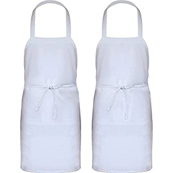 Professional Bib Apron (Set of 12, White, 32 x 28 inches) - Durable, String Adjustable, Machine Washable, Comfortable, Easy Care - by Utopia Wear