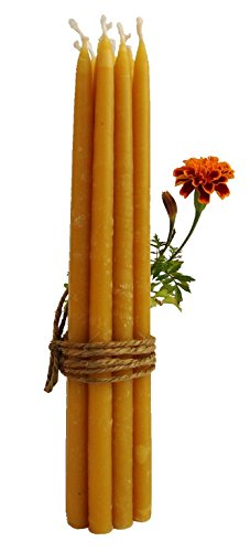 BCandle 100% Beeswax 2-hour Candles Organic Hand Made - 7 1/2 Inch Tall, 3/8 Inch Diameter (Pack of 12), Porcelain Candle Holder