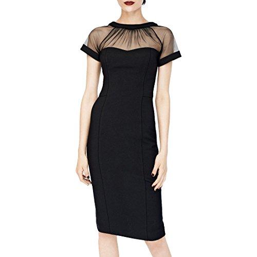 MissMay Women's Mesh Fashion Bodycon Stretch Cocktail Party Dresses M Black