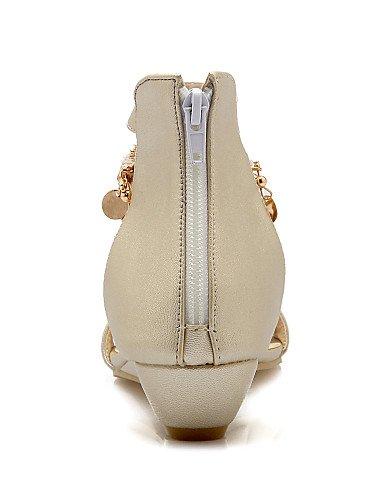 LFNLYX Zapatos de mujer-Tacón Cuña-Cuñas / Punta Abierta / Náuticos-Sandalias-Oficina y Trabajo / Vestido / Casual-Semicuero-Blanco / Plata / Oro golden