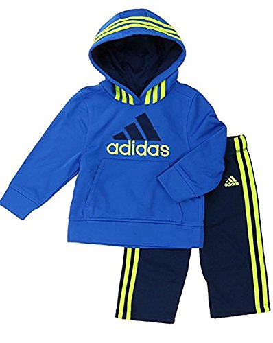 Adidas Boys Active Wear 2 Piece Athletic Outfit Set Navy/Royal (Hooded)) (2T) -