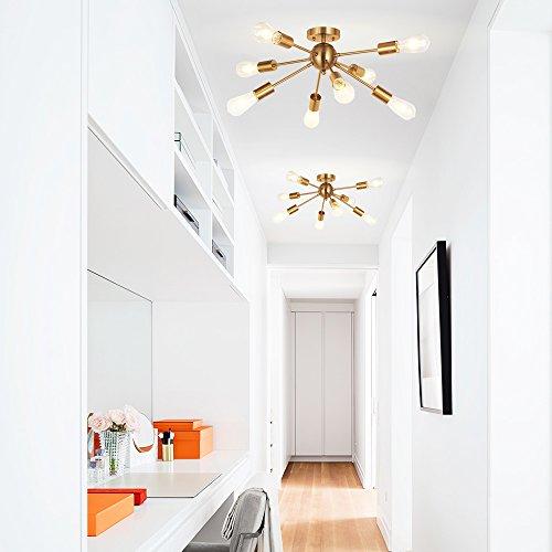 MELUCEE 8-Light Modern Sputnik Chandelier Brushed Brass Semi Flush Mount Ceiling Light Industrial Pendant Lighting Fixtures for Dining Room Bedroom Kitchen Living Room and Hallway by MELUCEE (Image #3)