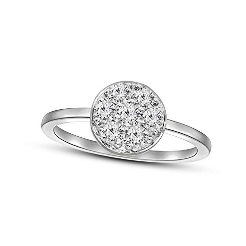 100% Pure Diamond Cluster Ring IGI Certified 1/2 ct Natural Diamond Ring For Women I2-I3-Clarity 14K White Gold Diamond Jewelry Gifts For Women (GH-Color) (Jewelry Gifts For Women)