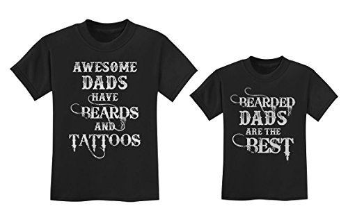 Father & Son/Daughter Beards and Tattoos Father's Day Matching Shirts Set T-Shirt Black Small/Toddler Kids T-Shirt Black 2T