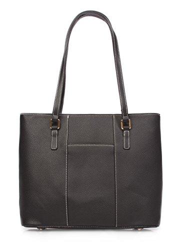 Top Zip Purse Black (Korvara Womens Tote Bag, Black - Vegan Leather Large Shoulder Bag for Women)