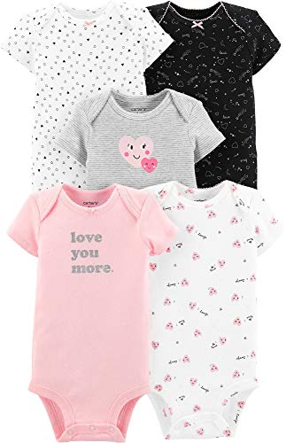 Carter's Baby Girls' 5 Pack Bodysuits (Ivory/Pink/Hearts, 12 Months) (Valentines Carters Shirt)