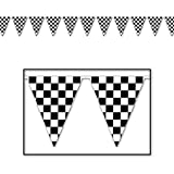 Checkered Flag / Racing Party Set: 12m of Flag Bunting + 5ft x 3ft Flag
