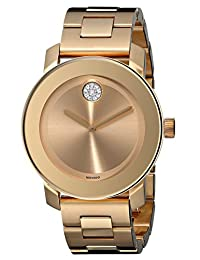 Movado Women's 3600104 Bold Gold Ion-Plated Bracelet Watch with Swarovski Crystals