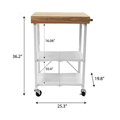 Origami Foldable Wheeled Portable Solid Wood Top Kitchen Island Bar Cart, White