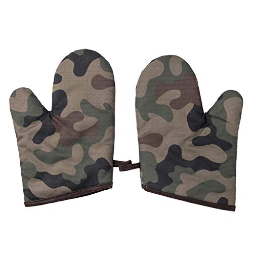 (Sanxian Three First Oven Mitts with Quilted Cotton Lining and Non-Slip Grip - Heat Resistant Kitchen Pot Holders Camouflage Gloves – 1)