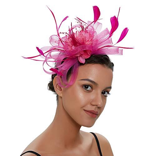 Spikerking Women's Church Wedding Tea Party Fascinator Kentucky Mesh Feather Hat,Rose