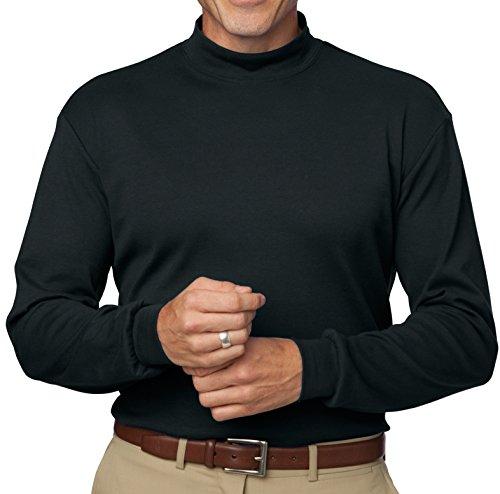 Cotton Mens Turtleneck Interlock (A&E Designs Upscale Men's Long Sleeve 100% Cotton Interlock Knit Mock Turtleneck Shirt - Black, 2XL)