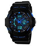 SKMEI 0955 Multi Function Military S-shock Sports Watch LED Analog Digital Waterproof Alarm (Blue)