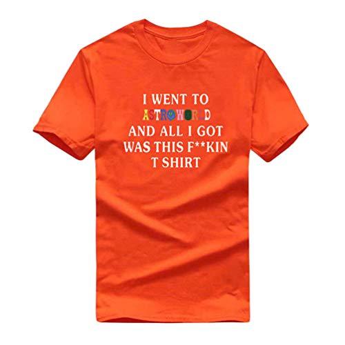 Manica Yuandian Lovers Moda Con Di Arancione 2 Stampa Corta shirt Magliette T Tops Selvatici Lettere Uomo Personalità Astroworld Loose donna Girocollo 60xwrEq0S8