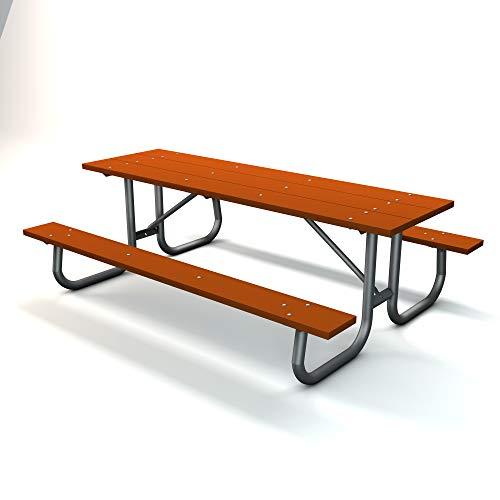 Frog Furnishings Galvanized Frame Picnic Table, 8', Cedar