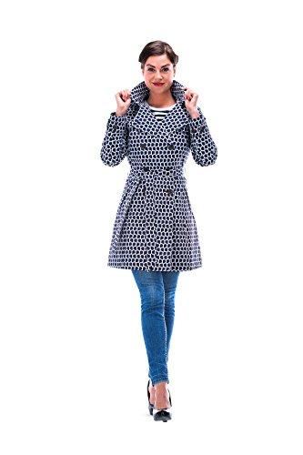HappyRainyDays - Femme | Manteau impermable, trench-coat avec capuche, Veste de pluie multicolore (Bleu)
