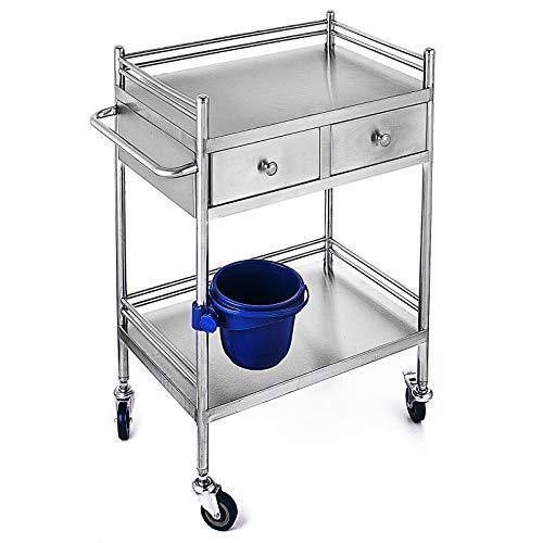 VEVOR Medical Dental Lab Serving Carts Trolley 2 Drawers Portable Mobile Trolley Cart Stainless Steel