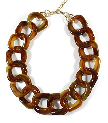 """""""Lovely Links, Latte"""", Super Chunky Tortoise Shell Necklace, 21-23 Inches"""