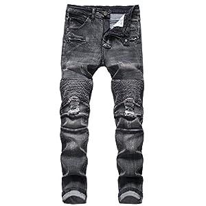 Men's Distressed Slim Fit Biker Jeans Stretched  Denim Pants