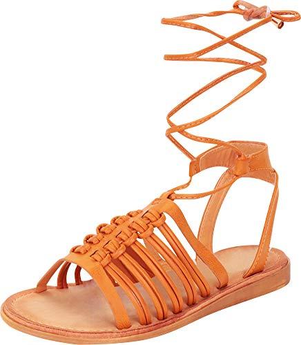 Cambridge Select Women's Strappy Caged Crisscross Ankle Tie Flat Gladiator Sandal (9 B(M) US, Tan PU)