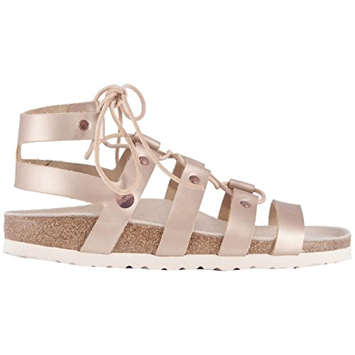 (Birkenstock Papillio Womens Cleo Frosted Metallic Rose Leather Sandals 38 EU)