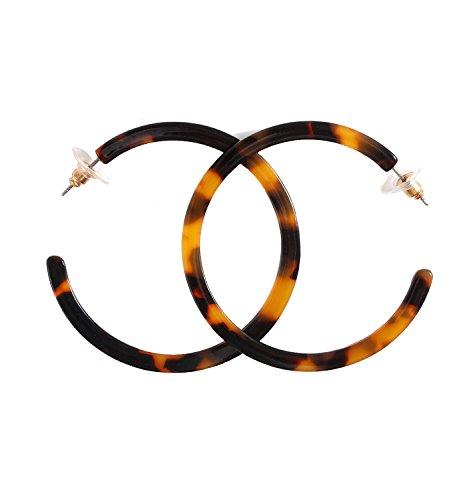 NLCAC Acrylic Hoop Earrings Marble Leopard Circle Resin Earrings Ear Drop Dangles (Tortoise Large) ()