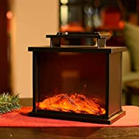 Hn Haiinaa Flameless Lantern Realistic Fireplace Light with Rectangle Black Plastic Case