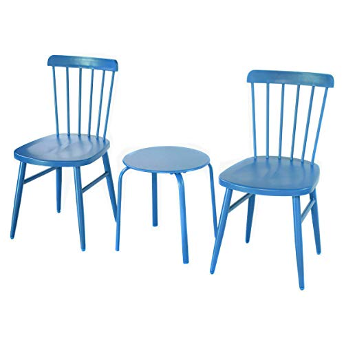 SRETAN 3Pcs Blue Table Chairs Furniture Set Indoor Outdoor Patio Bistro Garden Lawn Pool Side Steel Size 16.1 x 17.0 inch (Woodard Wrought Patio Iron Furniture Vintage)