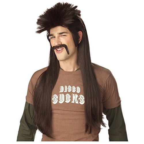 Dark Brown Mississippi Mud Flap Wig & Moustache Costume Accessory (Elf Princess Costume Kit)