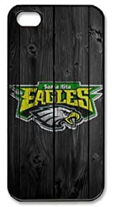LZHCASE Personalized Protective Case for iPhone 5 - Santa Rita Eagles in Wood Background