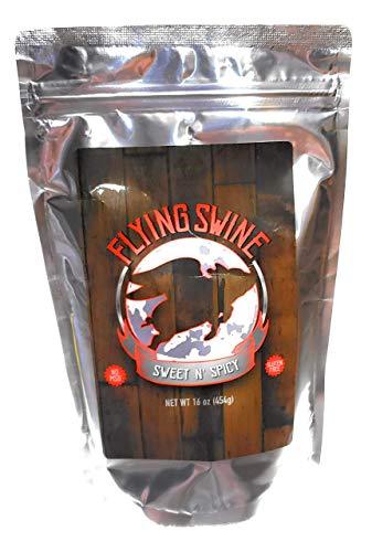 Flying Swine Sweet N' Spicy BBQ Rub 16 Oz - Award Winning Butt Rub Seasoning & Grilling Spices - Great for Smoking Meats, Rib Rub, Brisket Rub, Pulled Pork & Chicken Marinade - No MSG & Gluten Free (Best Pork Rub For Pulled Pork)