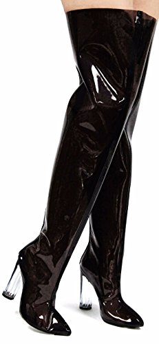 Cr Ella-6 Pointy Toe Block Chunky Clear Perspex Heel Thigh High Boot Shoe Black 6.5