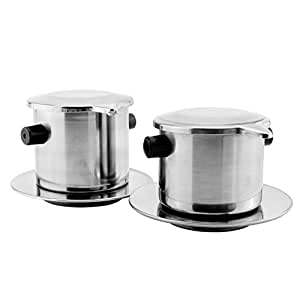 Vietnamese Coffee Filter Set (2-Pack); Pour Over Dripper Single-Serving Coffee Makers Value Coffee Press Bundle