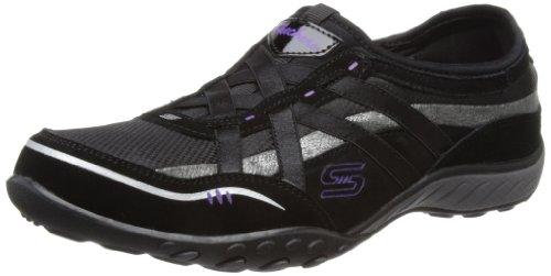 Skechers Sport Womens Breathe Easy Memory Foam Fashion Sneaker Black/Silver