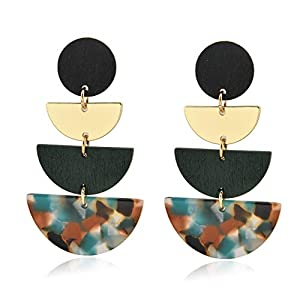 CHOKER Big Statement Dangle Ethnic Wood Earrings Lightweight Acrylic Drop Earrings for Women Girls