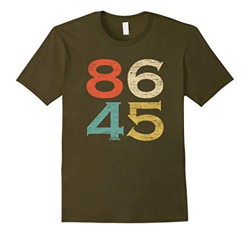 Mens Classic Vintage Style 86 45 Anti Trump T-Shirt Small Olive (Shirt Tee Retro)