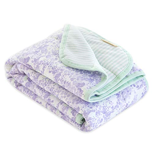 Burt's Bees Baby - Reversible Blanket, Nursery, Stroller & Tummy-Time Organic Jersey Cotton Quilted Infant & Toddler Bedding (Lost in Lilac) ()