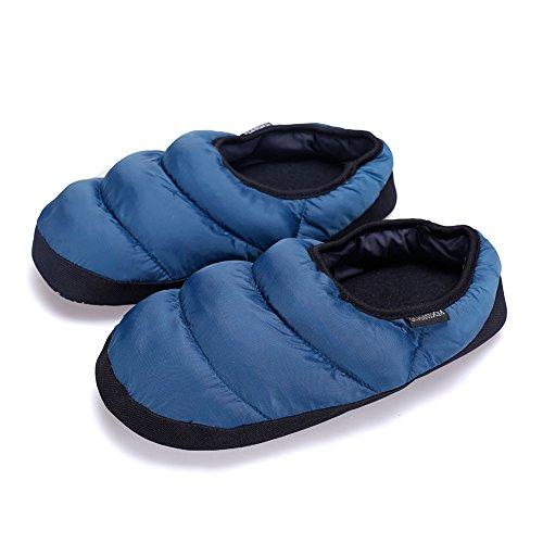 Arke Uomo E Donna Calde Morbide Pantofole Di Lana Antiscivolo Traspirante Antiscivolo In Memory Foam Blu Scuro