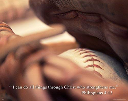 Baseball Posters Motivational - Religious Inspirtational Motivational Poster Art Print 11x14 Baseball Philippians 4:13 Wall Decor Pictures