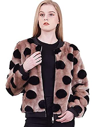 Amandina Luxe Full Zipper Loose Casual Polka dot Baseball Jacket for Women's Autumn Winter. (Small,Camel)