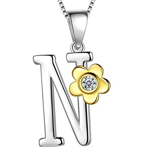 Aurora Tears Initial Letter N 925 Sterling Silver Daisy Flower Necklace 18k Gold Plated Charm Alphabet Pendant Two-Tone Gold Plated Jewelry DP0141N