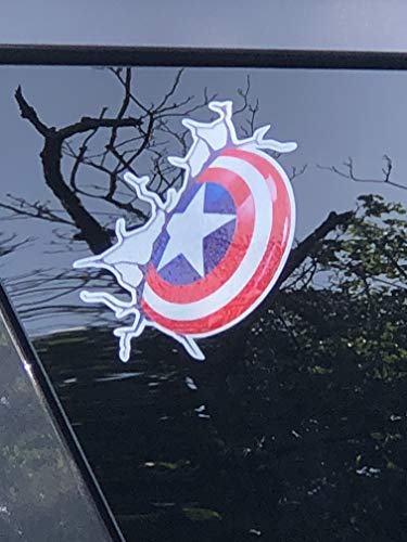 Captain America Shield Marvel Vinyl Window Auto Truck SUV Color Decal Waterproof Bumper Sticker Size: 5.5
